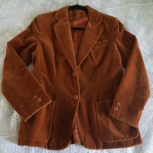 Vintage 70's rust orange velvet blazer jacket